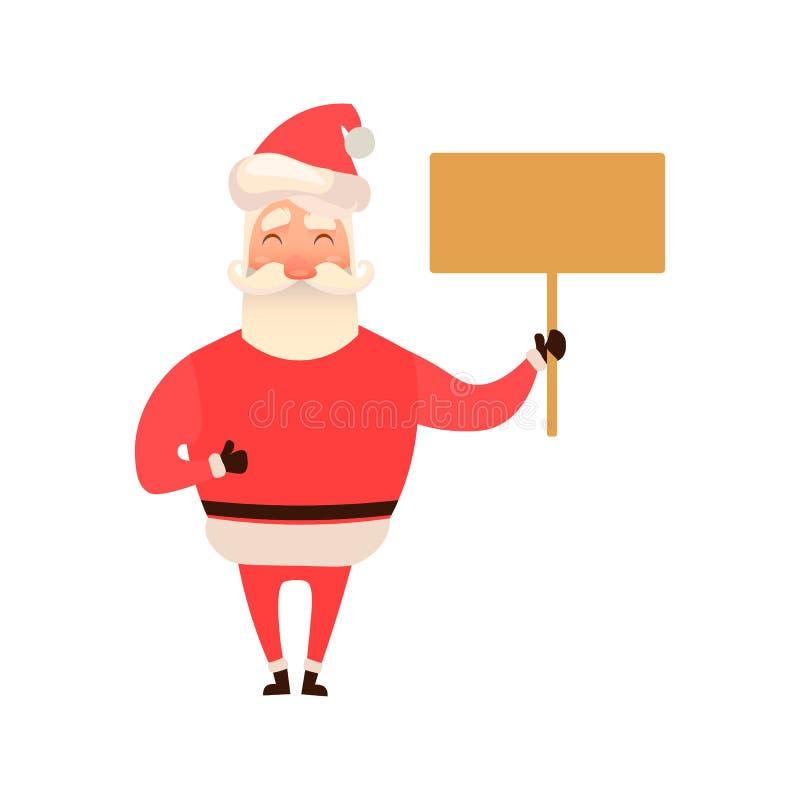 笑的圣诞老人拿着一个空的板,标志 字符设计 背景例证鲨鱼向量白色 平和 向量例证