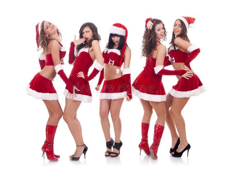 笑的圣诞老人联系的妇女 免版税库存图片