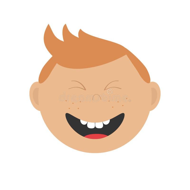 笑的男孩象 与红色头发和雀斑的逗人喜爱的漫画人物 库存例证