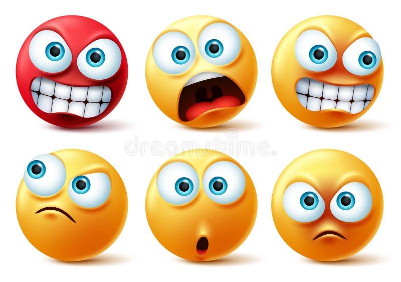 笑脸表情符面矢量集 笑黄色图标和表情符号脸上带着愤怒的红色、惊喜、可爱、疯狂和搞笑 皇族释放例证