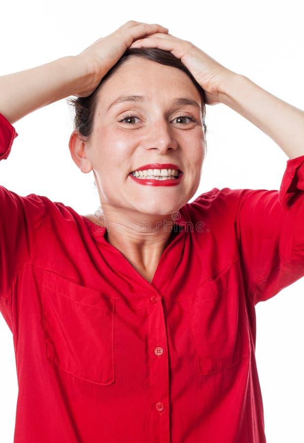 笑兴奋的妇女表示欢欣和高兴 库存图片