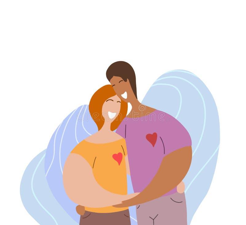 笑Lgbt愉快的夫妇拥抱和 妇女关系和爱 在现代平的样式的日期 家庭和团结 皇族释放例证