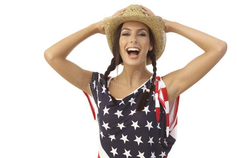 笑美国女孩画象  免版税库存照片