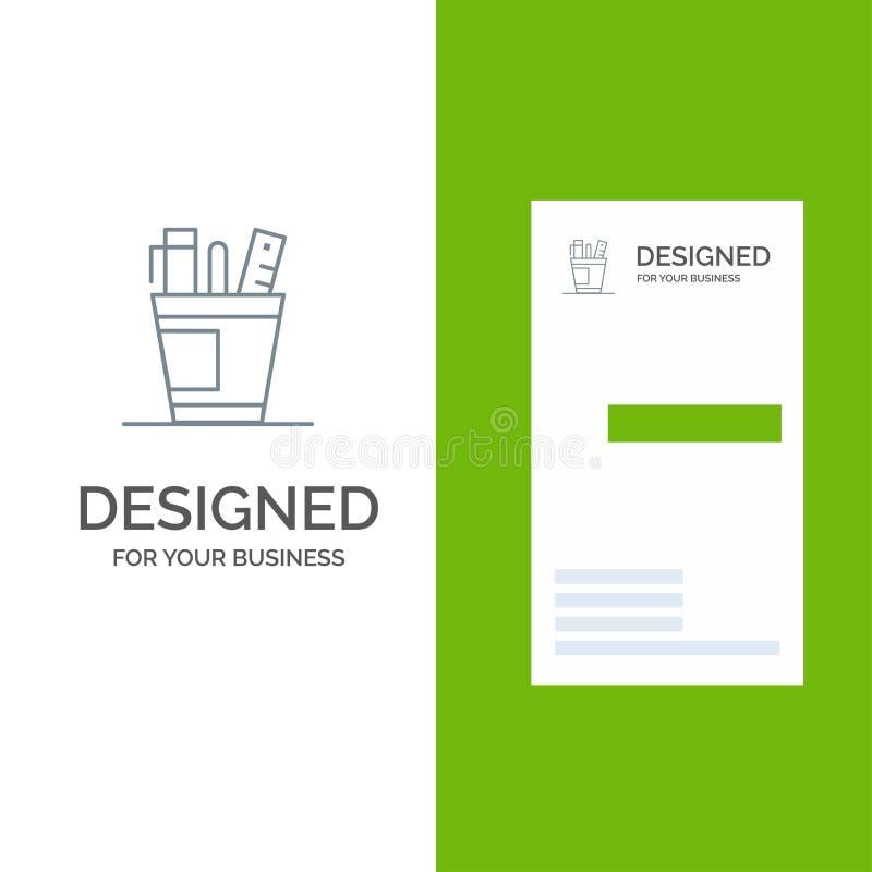 笔、书桌、办公室、组织者、供应、供应、工具灰色商标设计和名片模板 库存例证