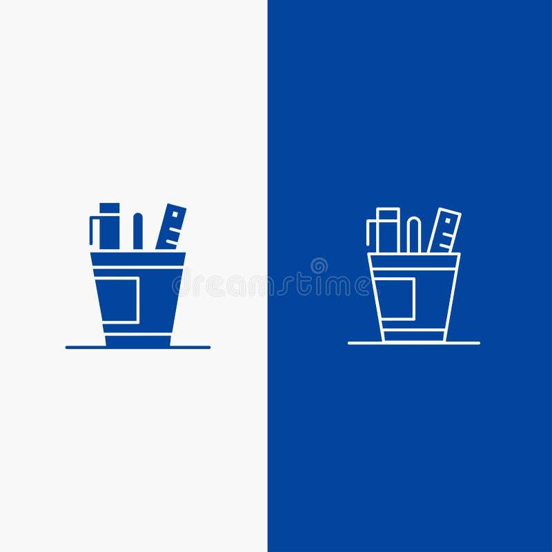 笔、书桌、办公室、组织者、供应、供应、工具线和纵的沟纹坚实象蓝色旗和纵的沟纹坚实象蓝色横幅 向量例证