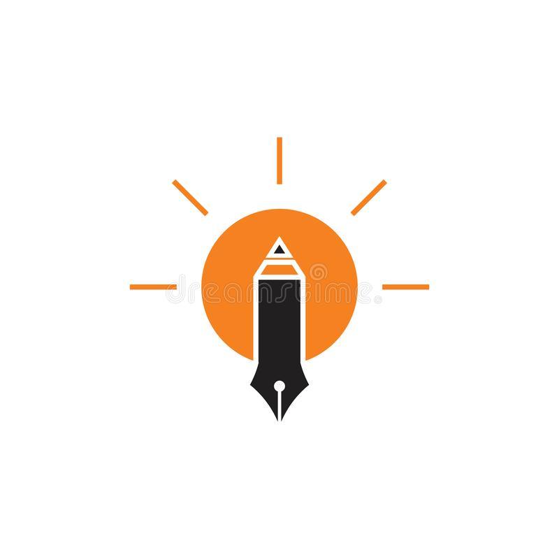 笔作家电灯泡想法装饰传染媒介 向量例证