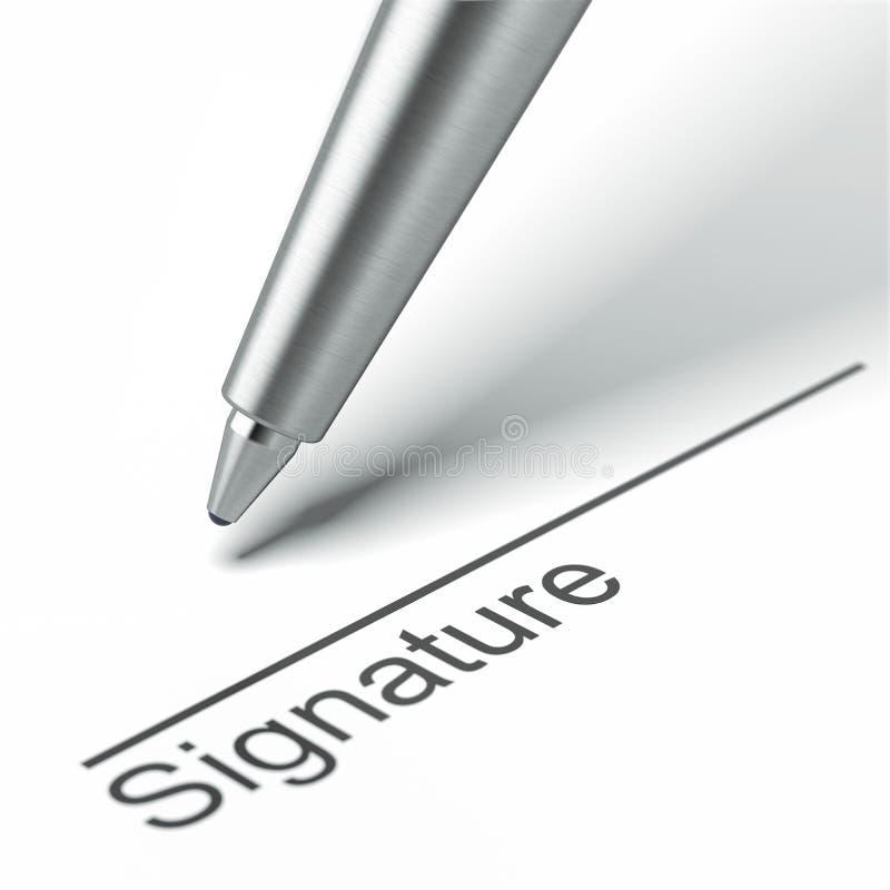 笔和署名 库存例证