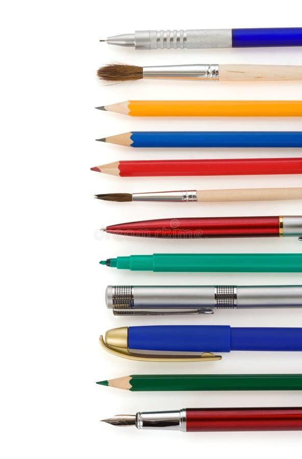 笔和铅笔在白色 库存图片