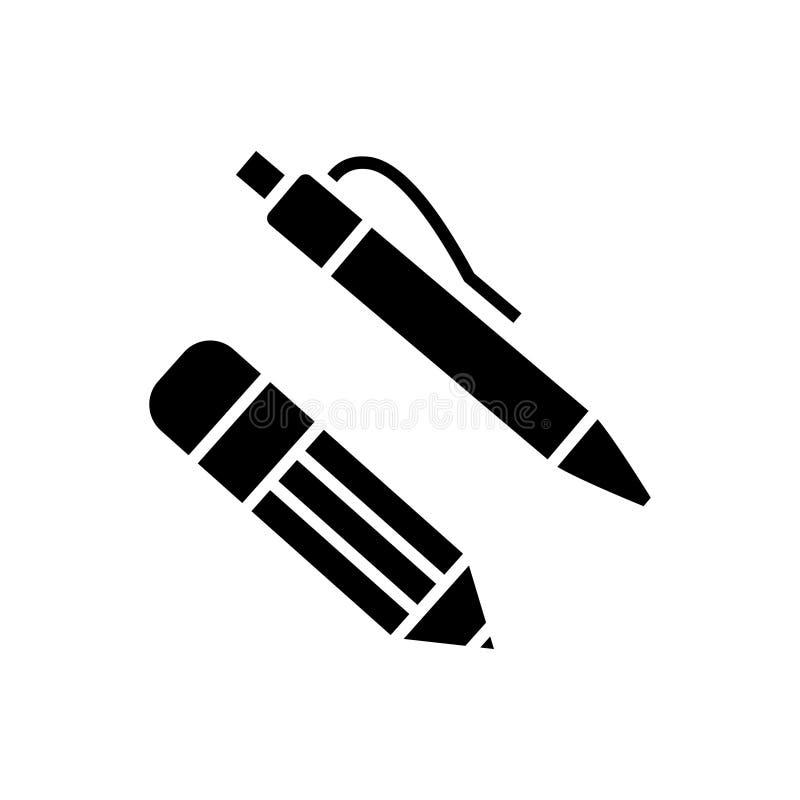 笔和铅笔象,传染媒介例证,在被隔绝的背景的黑标志 向量例证