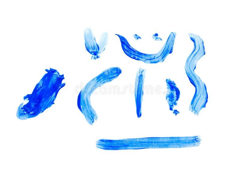 画笔的照片蓝色冲程的汇集 免版税库存图片