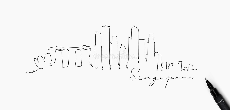 笔线剪影新加坡 皇族释放例证