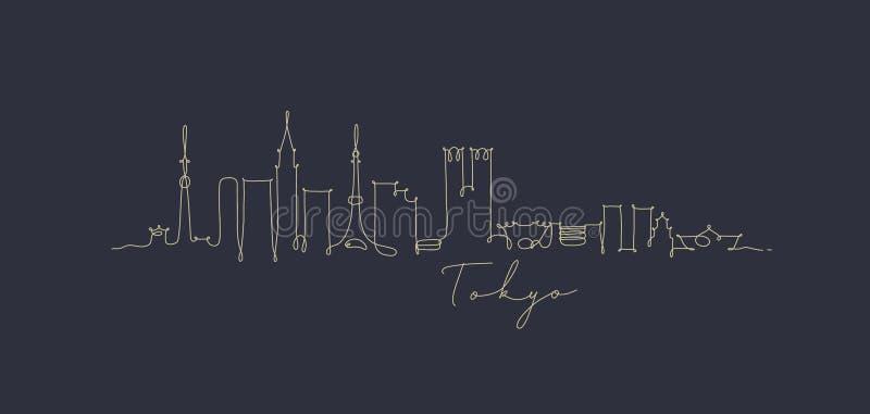 笔线剪影深蓝的东京 向量例证