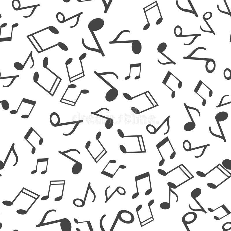 笔记传染媒介象 在白色背景的音乐笔记无缝的样式 库存例证
