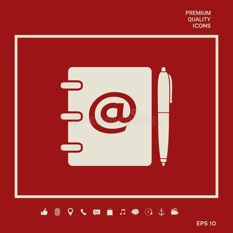 笔记本、地址、电话簿与电子邮件标志和笔象 您的设计的图表元素 皇族释放例证