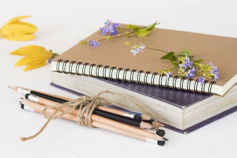 笔记本、字典学生书和铅笔研究的 免版税库存照片