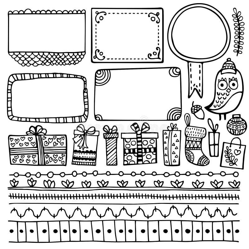 笔记本、日志和计划者的子弹学报手拉的传染媒介元素 库存例证