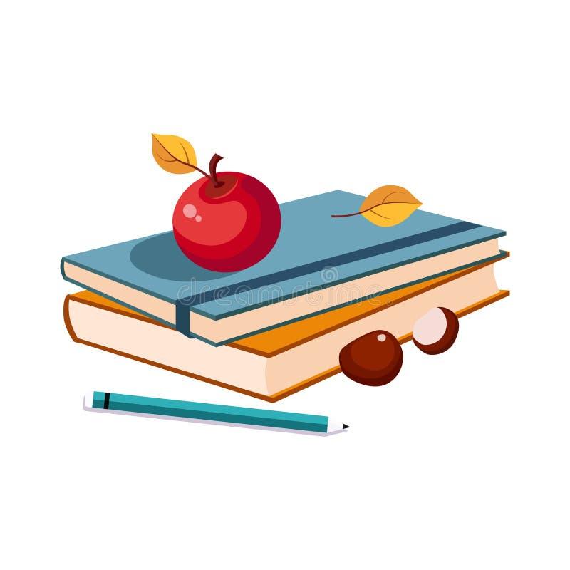 笔记本、苹果计算机和铅笔、套学校和在五颜六色的动画片样式的教育相关对象 库存例证