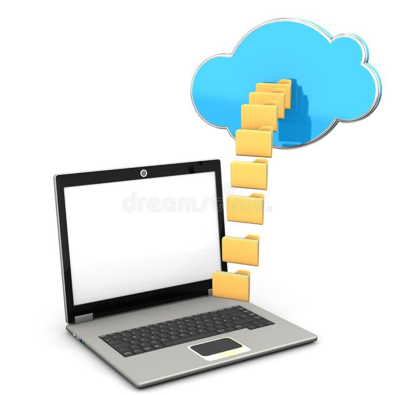 笔记本云彩文件夹 向量例证