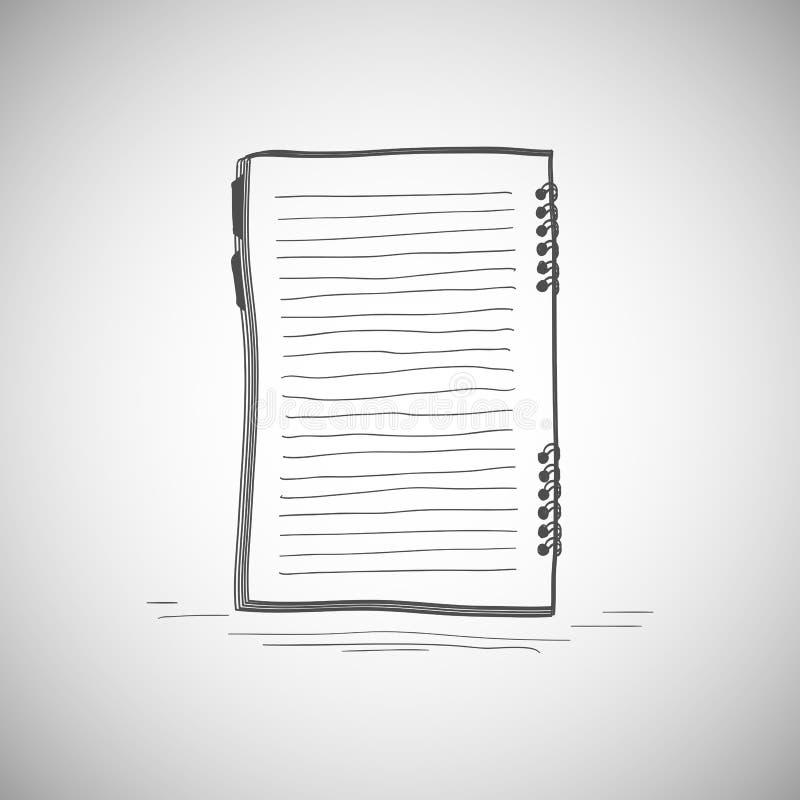 笔记本剪影。 向量例证