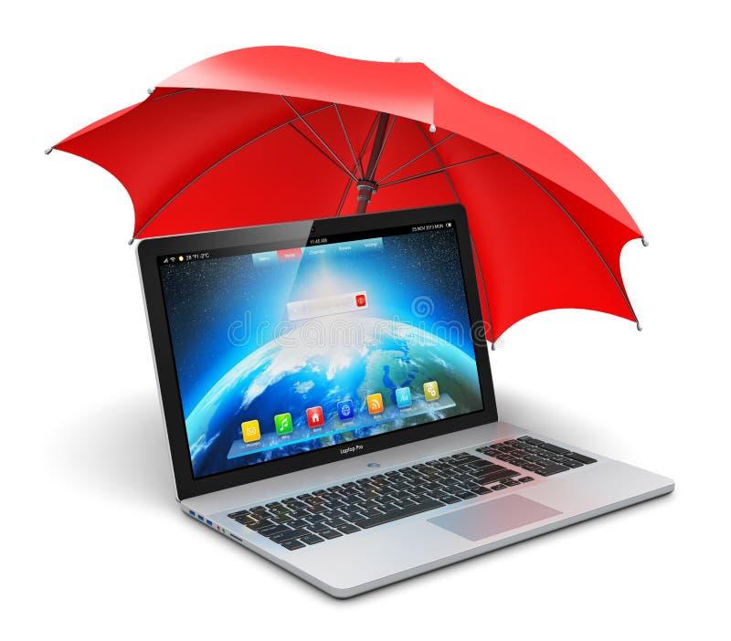 笔记本和伞 库存例证