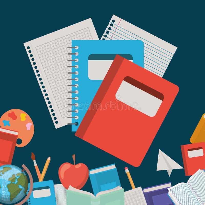 笔记本和供应回到学校 库存例证