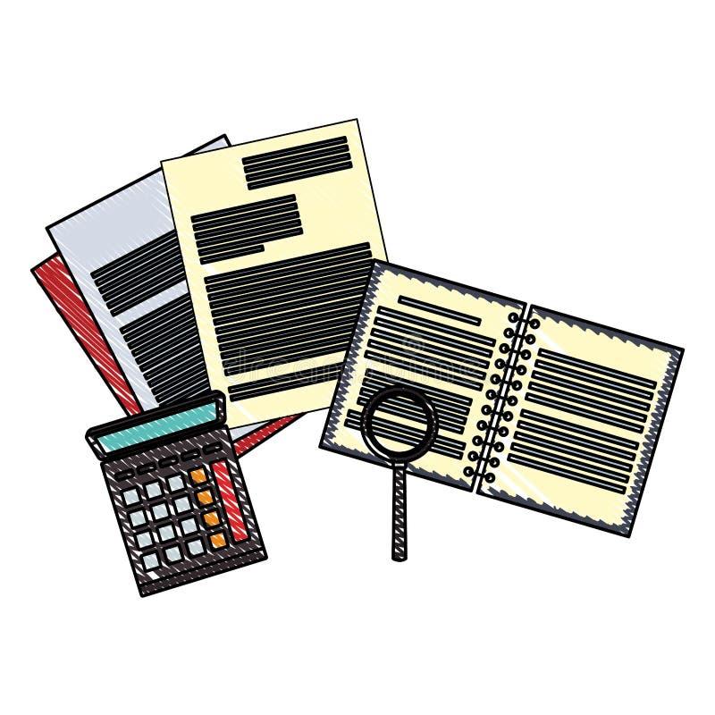 笔记本和文件与计算器杂文 库存例证