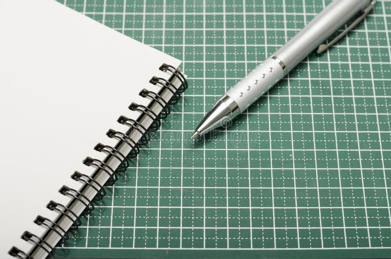 笔记本和笔在切口席子 库存图片