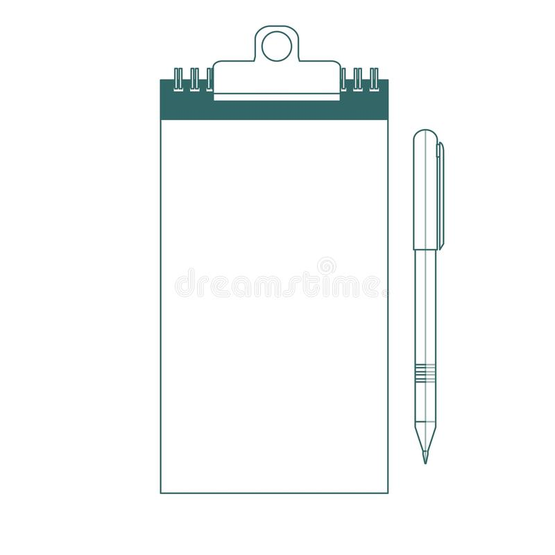 笔记本和笔象 概述在白色背景 皇族释放例证