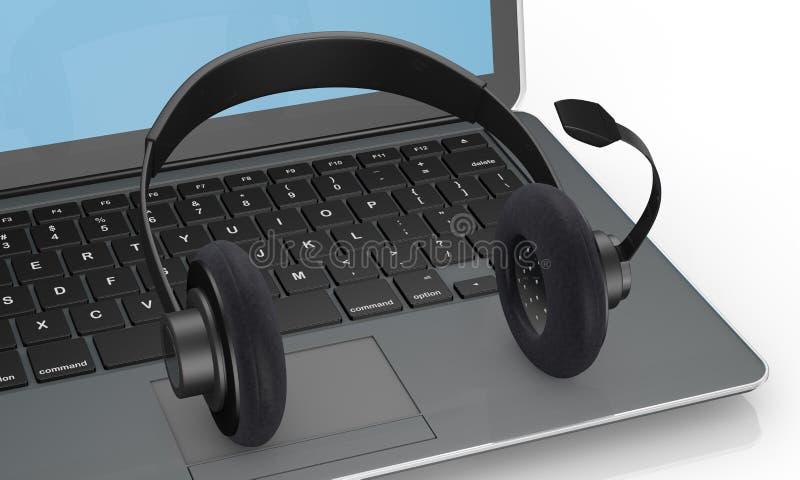 笔记本和耳机 向量例证