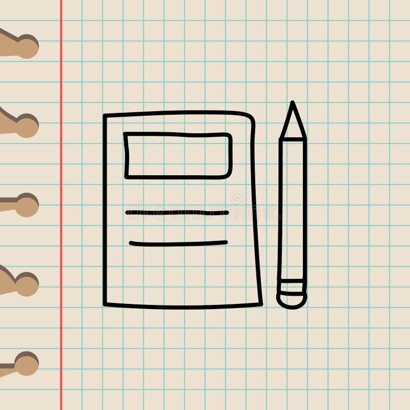 笔记本和铅笔剪影象 教育象的元素流动概念和网apps的 概述笔记本和铅笔剪影ico 皇族释放例证