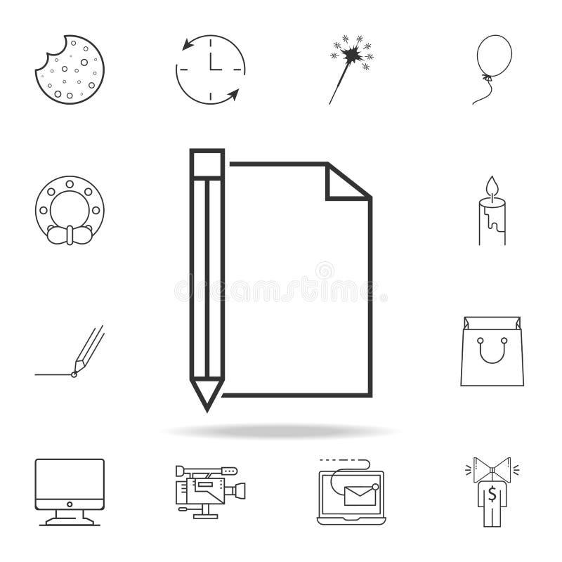 笔记本和铅笔象 详细的套网象和标志 优质图形设计 其中一个网站的汇集象, w 皇族释放例证