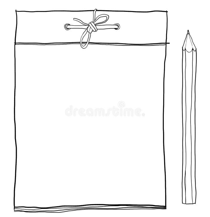 笔记本和黄色铅笔逗人喜爱的lineart例证 向量例证