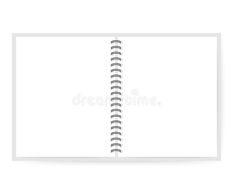 笔记本嘲笑与您的文本或图象的地方 空白的嘲笑与阴影 也corel凹道例证向量 向量例证