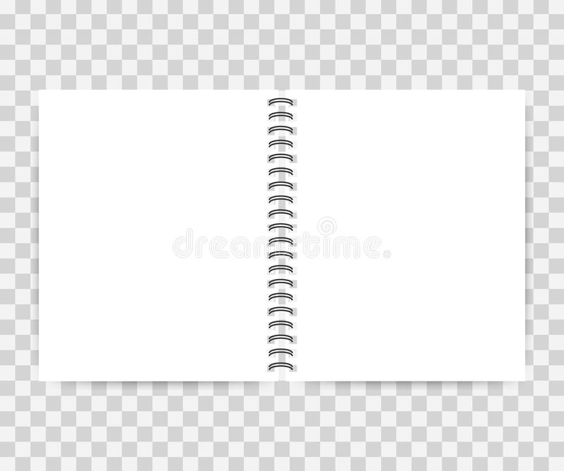 笔记本嘲笑与您的文本或图象的地方 空白的嘲笑与阴影 也corel凹道例证向量 皇族释放例证