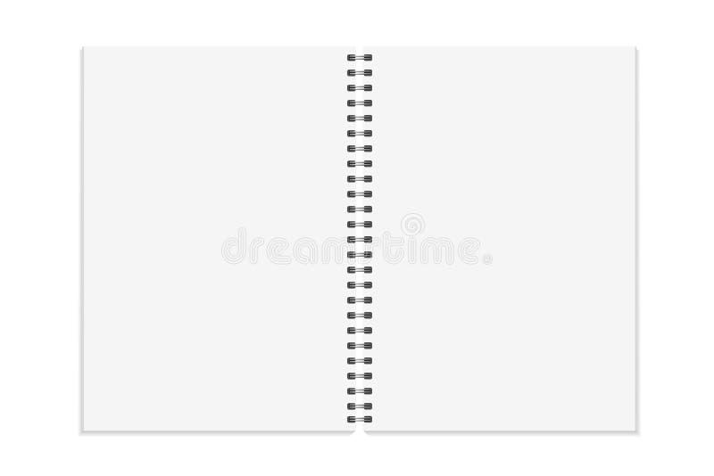 笔记本嘲笑 打开书,与金属螺旋模板的日志 背景查出的白色 A4一定的页 向量 向量例证