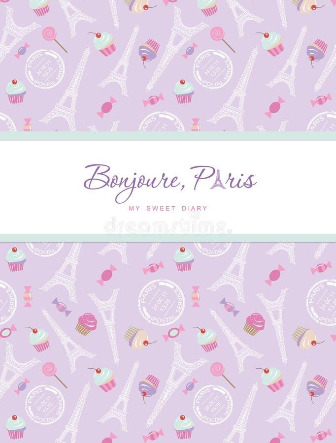 笔记本在巴黎题材的盖子设计  十几岁的女孩日志 与埃佛尔铁塔,杯形蛋糕的包括的无缝的样式 库存例证