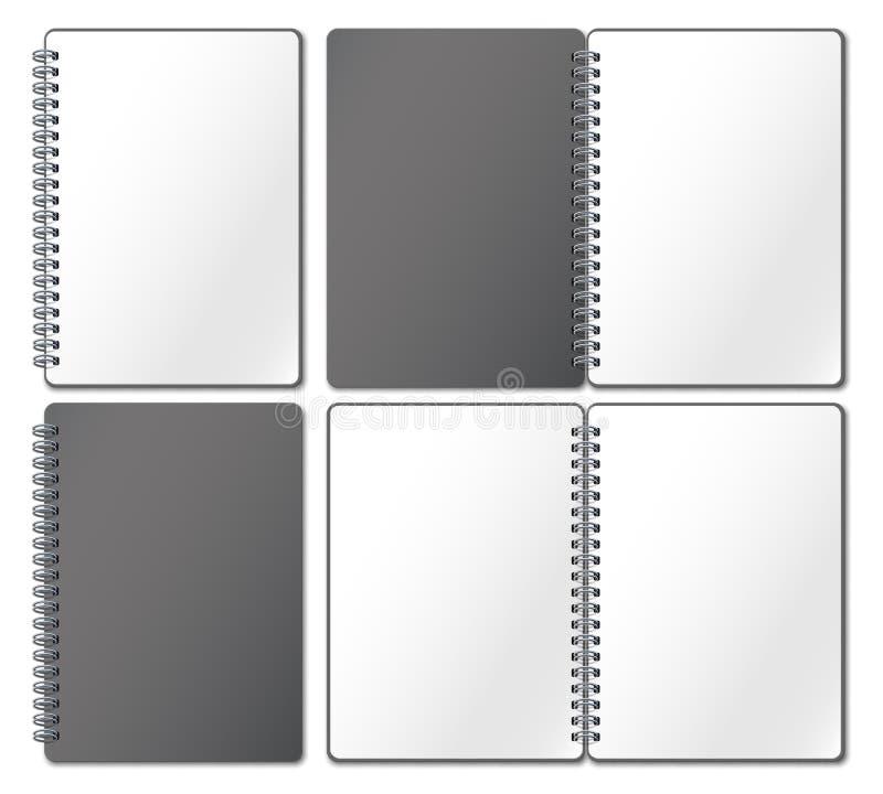 笔记本大模型 空的习字簿,笔记本页在金属螺旋和开放一定的写生簿现实3d传染媒介binded 库存例证