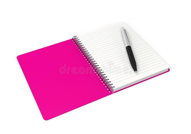 笔记本敲响螺旋笔记本笔 库存例证