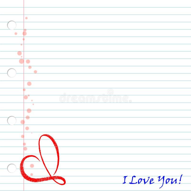 笔记本板料有词'我爱你'和红心的 库存例证