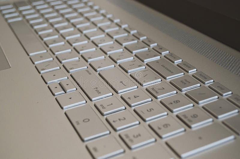 笔记本电脑键盘 笔记本电脑背景 数字键盘 特写灰键 库存照片