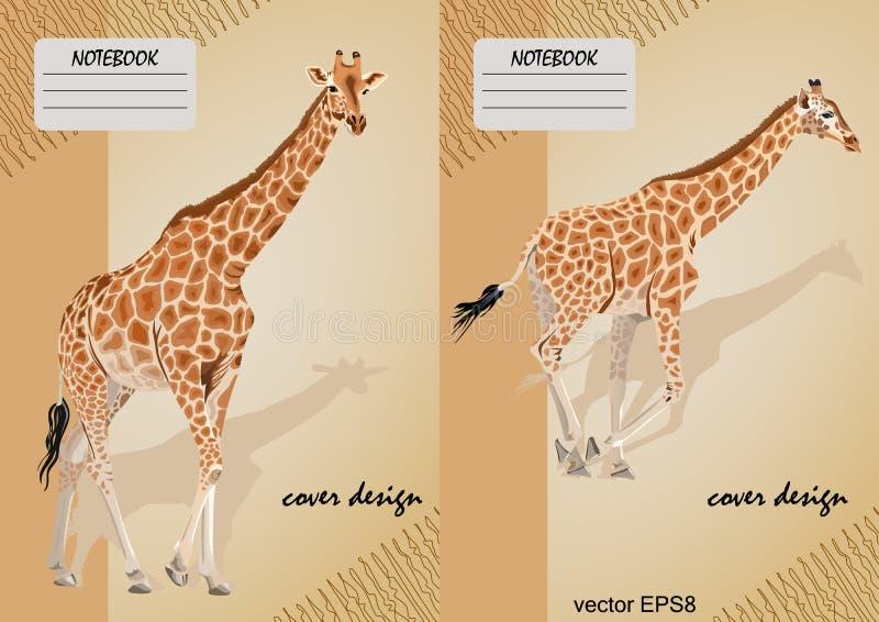 笔记本的两盖子有在米黄背景的一头长颈鹿的 库存例证