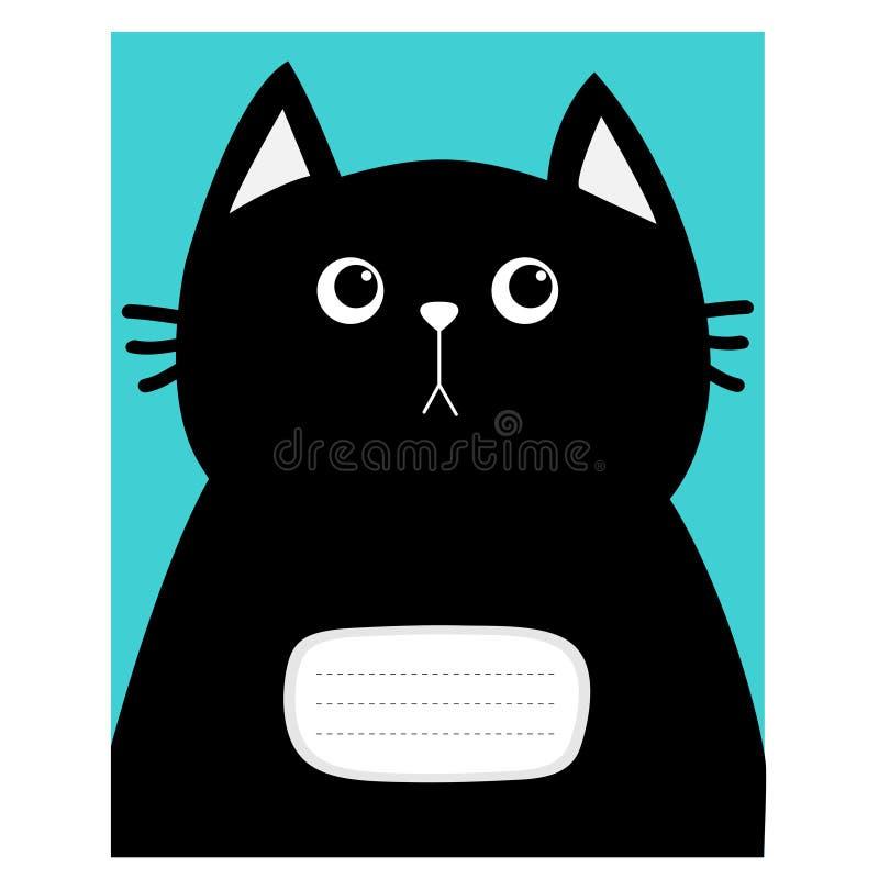 笔记本盖子构成书模板 恶意嘘声全部赌注头 逗人喜爱的漫画人物 宠物婴孩汇集卡片 平的设计 蓝色 向量例证