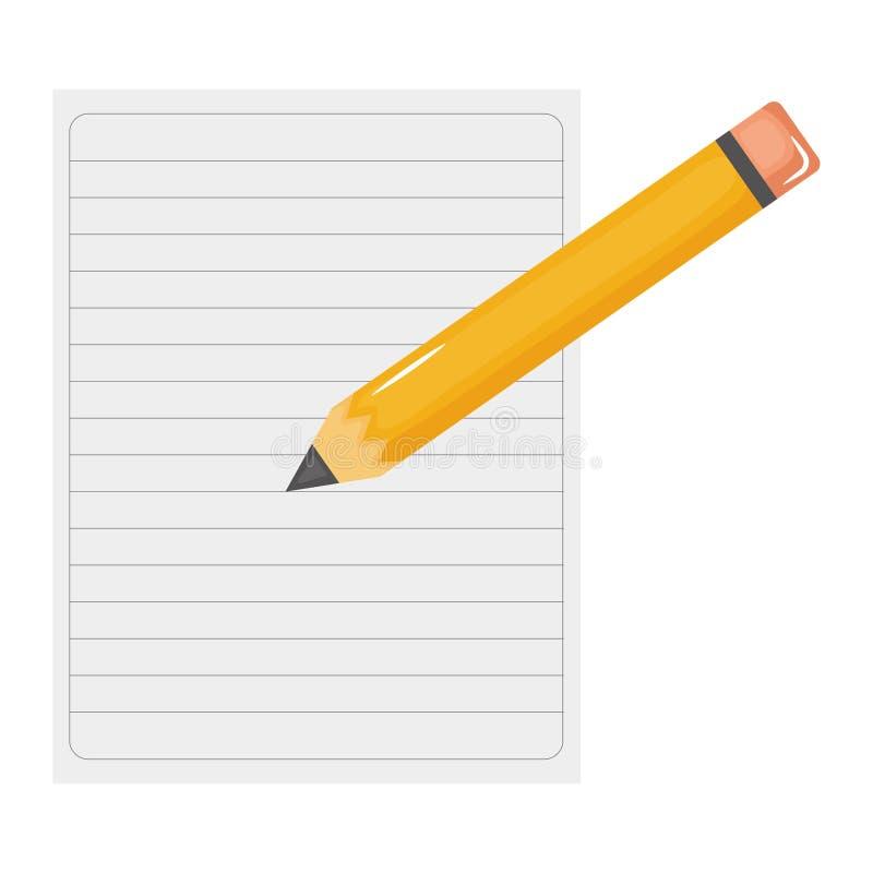 笔记本纸板料与铅笔的 库存例证