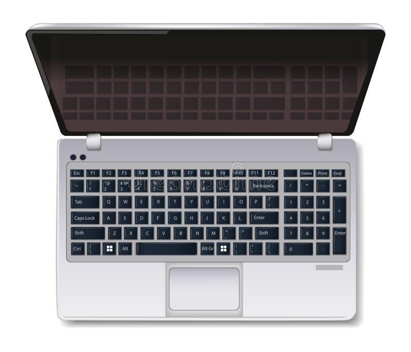 笔记本计算机膝上型计算机在白色隔绝的传染媒介现实 顶视图3d例证 库存例证
