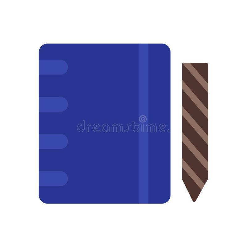 笔记本象在白色背景和标志隔绝的传染媒介标志,笔记本商标概念 库存例证