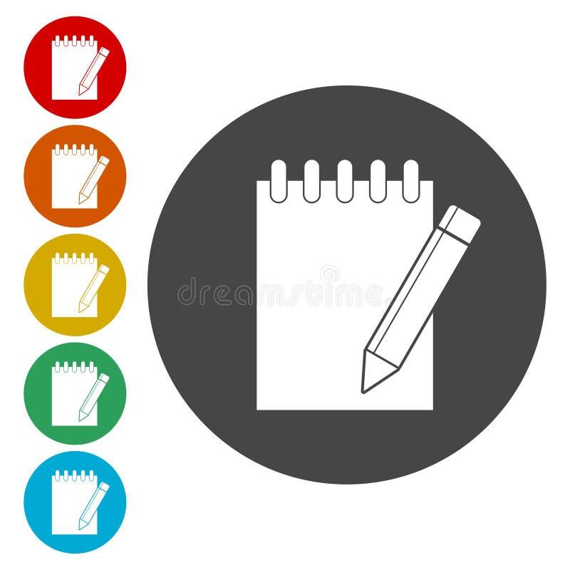 笔记本象,与被设置的铅笔象的文件 库存例证