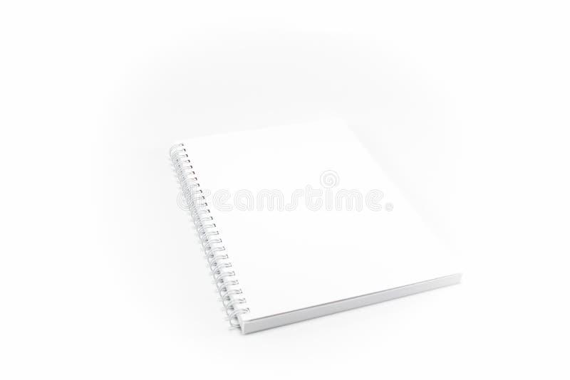 笔记本,书签,日志 白色,清楚,空白,有螺旋的被隔绝的笔记本在白色背景 库存图片