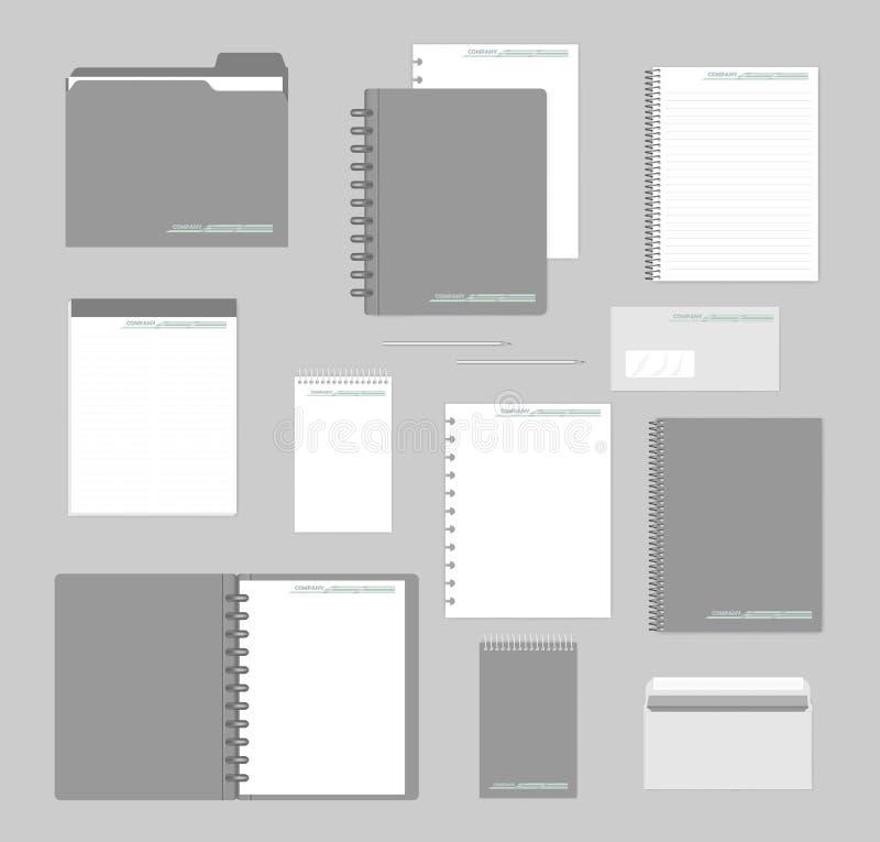 笔记本,纸,文件夹,信封-公司本体大模型集合 皇族释放例证