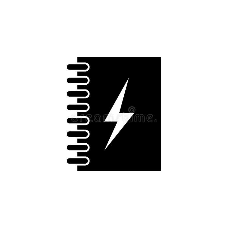 笔记本,能量,在白色背景的闪电象 能为网,商标,流动应用程序,UI UX使用 向量例证