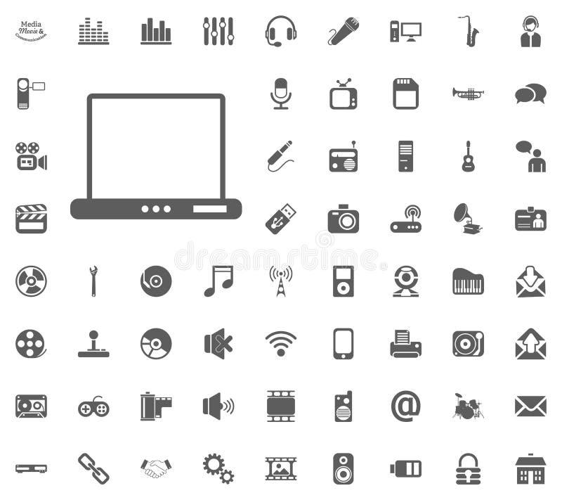 笔记本,膝上型计算机象 媒介、音乐和通信传染媒介例证象集合 套普遍象 套64个象 库存例证
